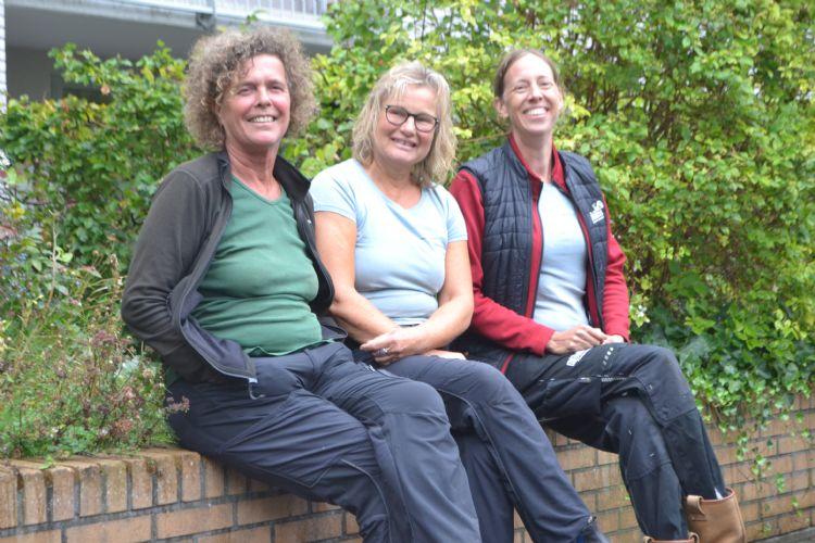 V.l.n.r.: Lilian Verhaak, Tiny Schut en Marie José van der Werff ten bosch