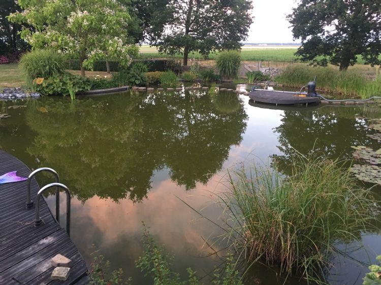 Een voormalig gierkelder is hier omgetoverd tot een heerlijke zwemvijver